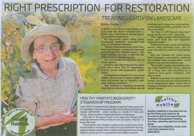 newspaper cutting about Healthy Habitats Program run by Landcare SJ