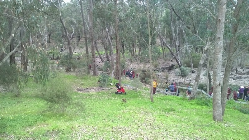 Children planting seedlings at Gooralong Brook, Jarrahdale