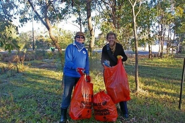 members of BEL with bags of rubbish at Byford Scount Hall