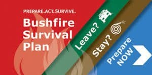 Bushfire Survival Plan infographic with Leave Stay Survive?
