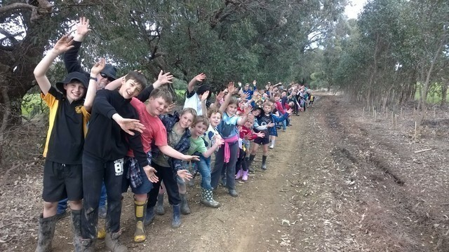 North Dandalup Primary School children standing on Beau Sovereign Drive