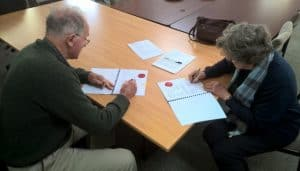 Chair of theLandcare SJBoard, Prof. David Lindsay, and Board member Jan Star sign a new three year agreement on landcare service delivery in theShire of Serpentine-Jarrahdale.
