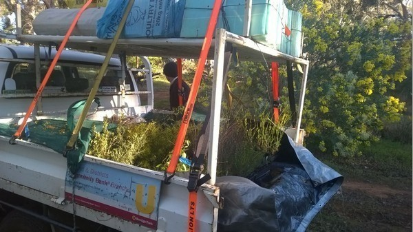 Landcare SJ ute with seedlings to plant at Myara Brook