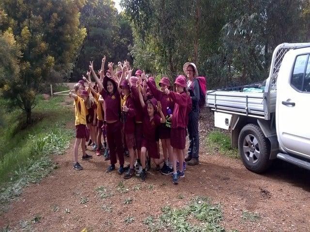 Enthusiastic Jarrahdale school children at Turtle Creek