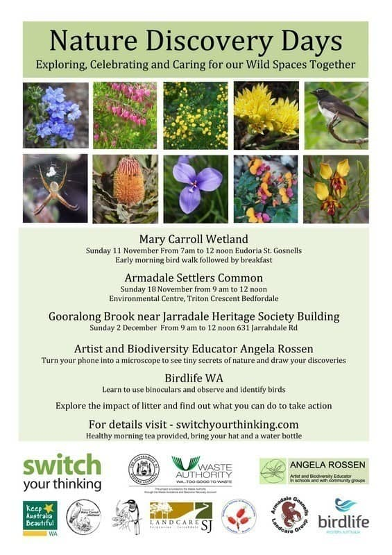 flyer showing images of wildflowers advertising Switch your thinking Nature Discovery Days